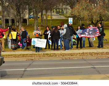 Bismarck, ND  Protestors of the Dakota Access Pipeline gather at the state capitol  Saturday afternoon Oct, 29 2016 to protest pipeline construction under the missouri river.