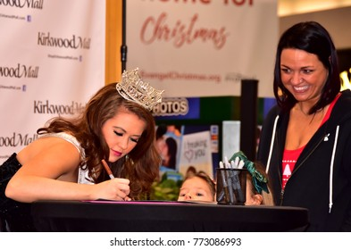 Bismarck, ND  Saturday Dec 9, 2017  Miss America, Cara Mund celebrates the holidays with her home town  at Kirkwood mall signing autographs and posing for photographs.