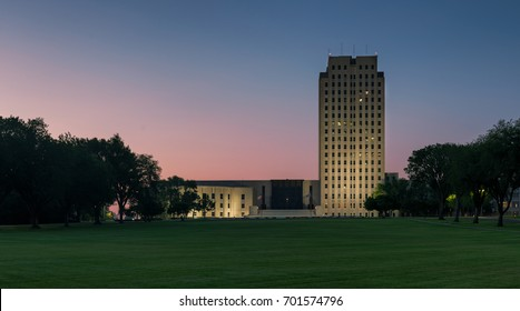 BISMARCK, NORTH DAKOTA - JULY 17: Exterior of the State Capitol at night on July 17, 2017 in Bismarck, North Dakota