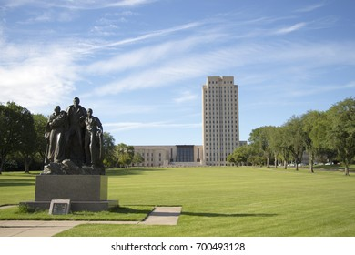 BISMARCK, NORTH DAKOTA - July, 20, 2017: Pioneer Family statue located on the North Dakota State Capital Grounds.