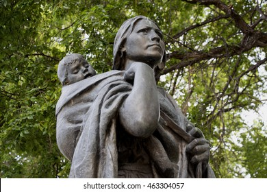 BISMARCK, NORTH DAKOTA - July, 31, 2016: Statue of Sacagawea and her son Jean-Baptiste Charbonneau, guide on the Lewis and Clark expedition, Bismarck, North Dakota