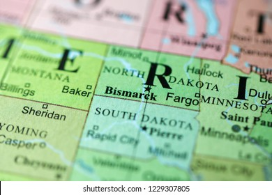Bismarck. USA on a geography map