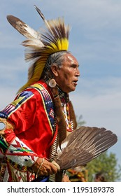 BISMARK, NORTH DAKOTA, September 8, 2018 : A dancer of the 49th annual United Tribes Pow Wow, a large outdoor event that gathers more than 900 dancers and musicians celebrating native american culture