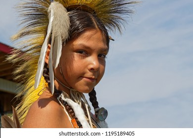 BISMARK, NORTH DAKOTA, September 8, 2018 : Portrait of a young Sioux at 49th annual United Tribes Pow Wow, a large outdoor event that gathers more than 900 dancers  celebrating native american culture