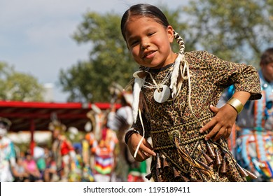 BISMARK, NORTH DAKOTA, September 8, 2018 : Sioux children at the 49th annual United Tribes Pow Wow, one large outdoor event that gathers more than 900 dancers celebrating native american culture.