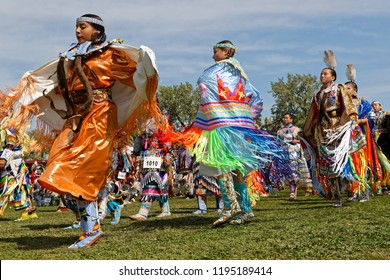 BISMARK, NORTH DAKOTA, September 8, 2018 : Women dancers of the 49th annual United Tribes Pow Wow, one large outdoor event that gathers more than 900 dancers celebrating native american culture.