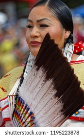 BISMARK, NORTH DAKOTA, September 9, 2018 : Women dancers of the 49th annual United Tribes Pow Wow, one large outdoor event that gathers more than 900 dancers celebrating native american culture.