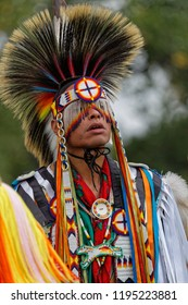 BISMARK, NORTH DAKOTA, September 9, 2018 : A dancer of the 49th annual United Tribes Pow Wow, a large outdoor event that gathers more than 900 dancers and musicians celebrating native american culture