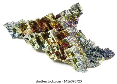 bismuth crystal isolated on white background