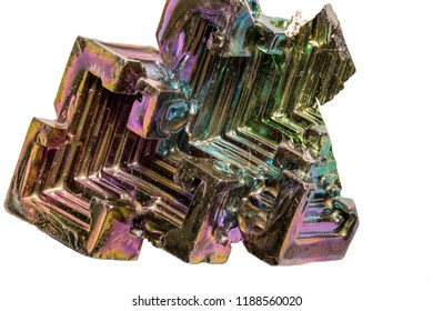 Bismuth Gemstone macro closeup isolated