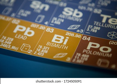 Bismuth on the periodic table of elements