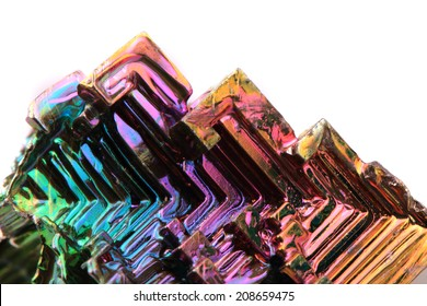 bismuth (rainbow metal) isolated on the white background