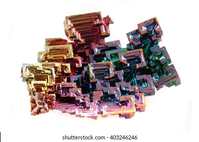 Bismuth - rainbow metal isolated on the white background