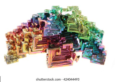 Bismuth - rainbow metal mineral isolated on the white background