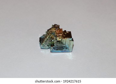 Bismuth stone, synthetic. Close up. From the collection.