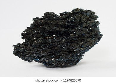Bismuthinite or bismuth ore,  bismuth sulfide on white background potentially for economic rare earth metal bismuth production markets prices news