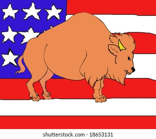 Bison on a background in banner of USA