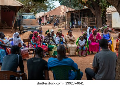 Bissau, Republic of Guinea-Bissau - February 6, 2018: Group of people at a community meeting at the Missira neighborhood in the city of Bissau, Guinea Bissau