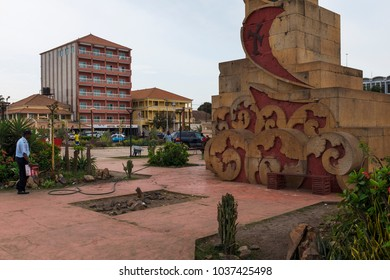 Bissau, Republic of Guinea-Bissau - January 28, 2018: View of the Imperio Square (Praca do Imperio) in the city of Bissau, Republic of Guinea-Bissau