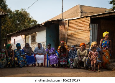 Bissau, Republic of Guinea-Bissau - January 29, 2018: Portrait of a group of women at a community reunion in the Bissaque neighborhood in the city of Bissau, Guinea Bissau.