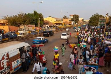 Bissau, Republic of Guinea-Bissau - January 30, 2018: Street scene in the city of Bissau with people at the Bandim Market, in Guinea-Bissau, West Africa