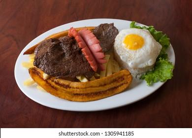 BISTEC TO THE POOR.  With egg, CHORIZO, banana and potatoes. PERUVIAN FOOD