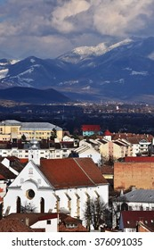 Bistrita, view from Evangelical Church , February 2016, Romania - panoramic city- view from the Mountains of Bargau