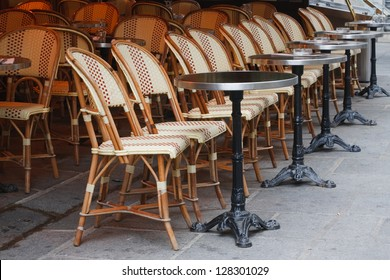 Bistro. Beautiful wicker chairs outdoor cafe in Paris