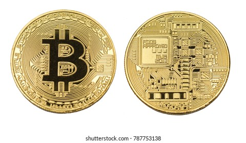 bit coin sign golden metal isolated face and back side