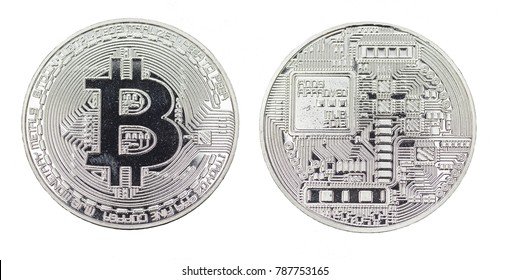 bit coin sign silver metal isolated face and back side