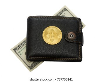 bit coin wallet and hundred dollar bill isolated