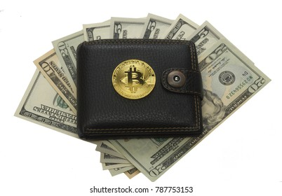 bit coin wallet and paper dollar cash isolated