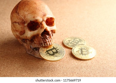 bitcion and skull on wooden background