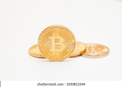 Bitcoi coin. Bitcoin. crypto currency. White background