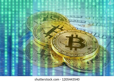 Bitcoin with abstract futuristic digital binary technology background.Conceptual design for technology of Cryptocurrency and money investing.