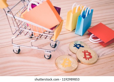 Bitcoin accepted here in shop concept. Shop in some country to accept cryptocurrencies as payment for goods and services. Bitcoin wallet for invest, shopping, hold, sending and receiving any payment.