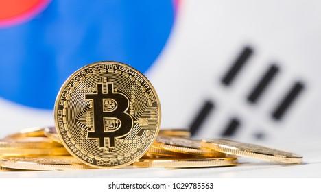 Bitcoin against South Korean flag background