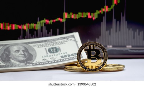 Bitcoin and all coin placed on a white floor with a dollar and Candle chart in computer  black screen. Concept of digital money is becoming a competitor in major currencies such as the dollar.
