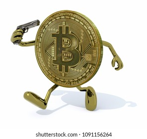 Bitcoin with arms, legs and gun on hand, modern investment risk concept, 3d illustration
