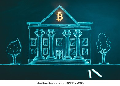 Bitcoin banking symbol. Concept of bitcoin mass adoption of hedge funds, pension funds, VC capital, financial institutions and banks. Government regulations