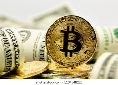 Bitcoin and banknotes of one dollar.Exchange money for mining new virtual cryptocurrency concept and digital payment system.