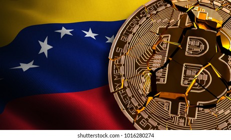 Venezuela's Bitcoin BANNED, Not Illegal, Ban BTC, block chain technology for crypto currency, 3D Rendering