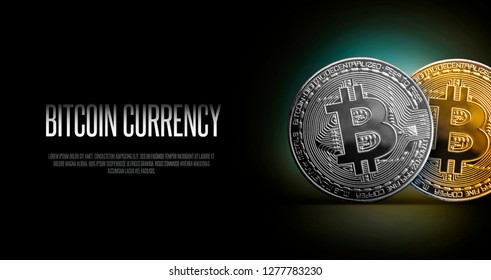 Bitcoin Banner Header. Gold and Silwer coin. Cryptocurrency with space for your own text. Concept