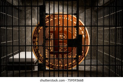 Bitcoin Bans,BTC illegal blockchain technology for cryptocurrency, 3D Rendering