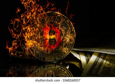 Bitcoin bit coin btc cryptocurrency money burning in flames and fire sparkles