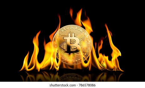 Bitcoin - bit coin BTC cryptocurrency money burning in flames on black background