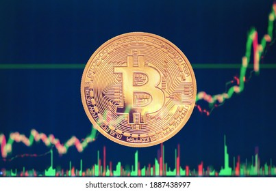 bitcoin - bit coin BTC currency on chart background