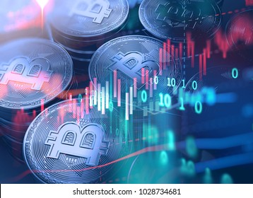 Bitcoin and Block chain network  concept on financial graph background 3d illustration