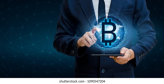 Bitcoin block chain World map security system Digital currency Financial business in the online world