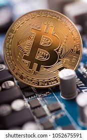 Bitcoin blockchain  BTC concept. Golden Bitcoin coins as symbol of electronic virtual money
